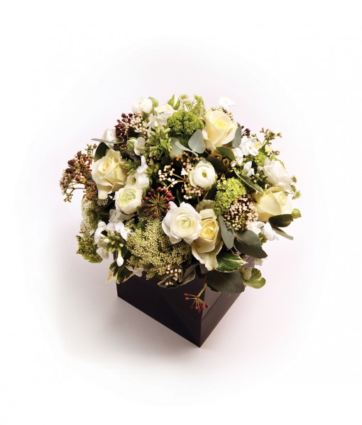 box bouquet white